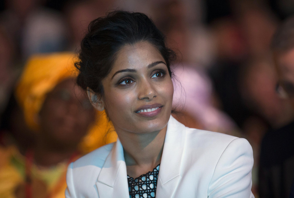 Freida Pinto speaks at girls' rights summit in UK
