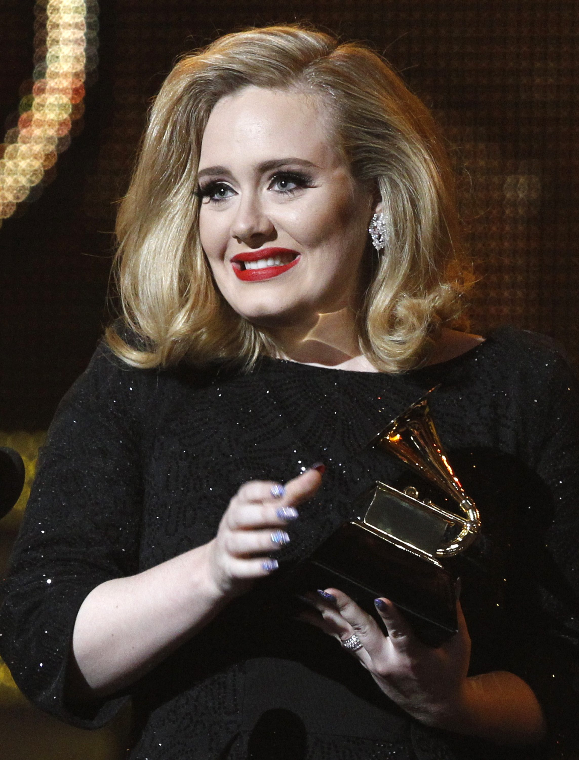 File photo of Singer Adele at the 54th annual Grammy Awards in Los Angeles