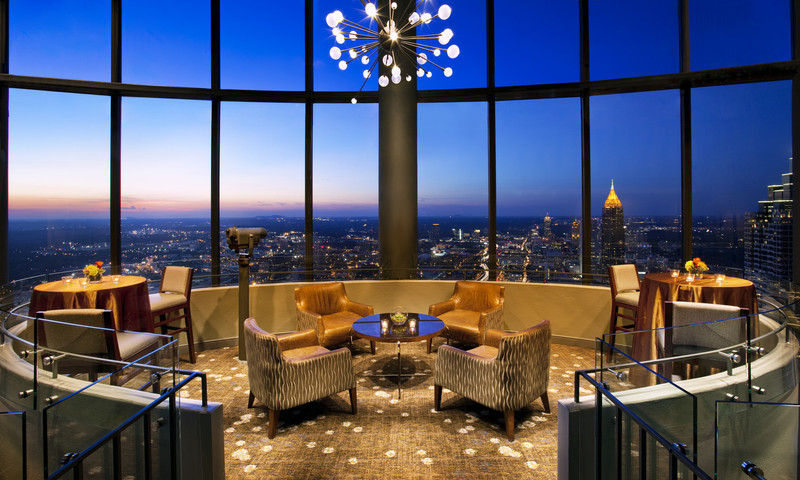 Enjoy a rotating view of Atlanta from the Sun Dial Restaurant Bar & View (Westin Peachtree Plaza).