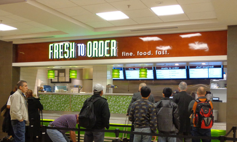 The sign says it all. Fine. Food. Fast. Fresh to Order has several locations, including one at CNN Center.