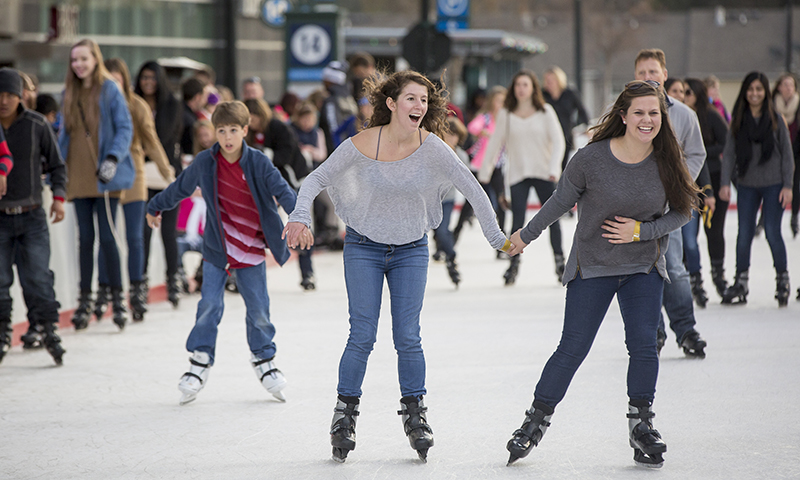 """Release holiday stress at """"Skate the Sky"""" at Rooftop Terrace. (Laura Rispin/The Wilbert Group)"""