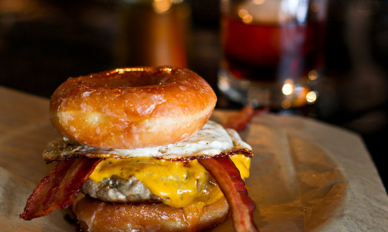 A burger served between two Krispy Kreme doughnuts? You betcha.
