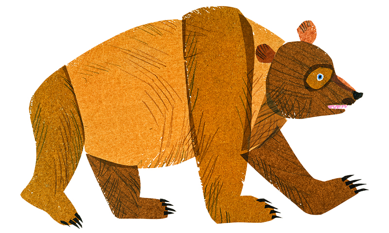 This original illustration of Brown Bear is different than the one in today's beloved storybook.