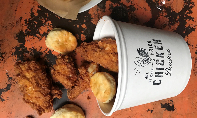 Whether on a plate with sides or by the bucket, JCT. Kitchen's fried chicken is a pleaser.