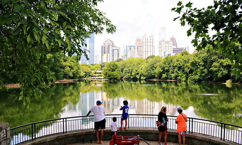 Piedmont Park offers great views of the Atlanta skyline. (Benjamin A. Pete)