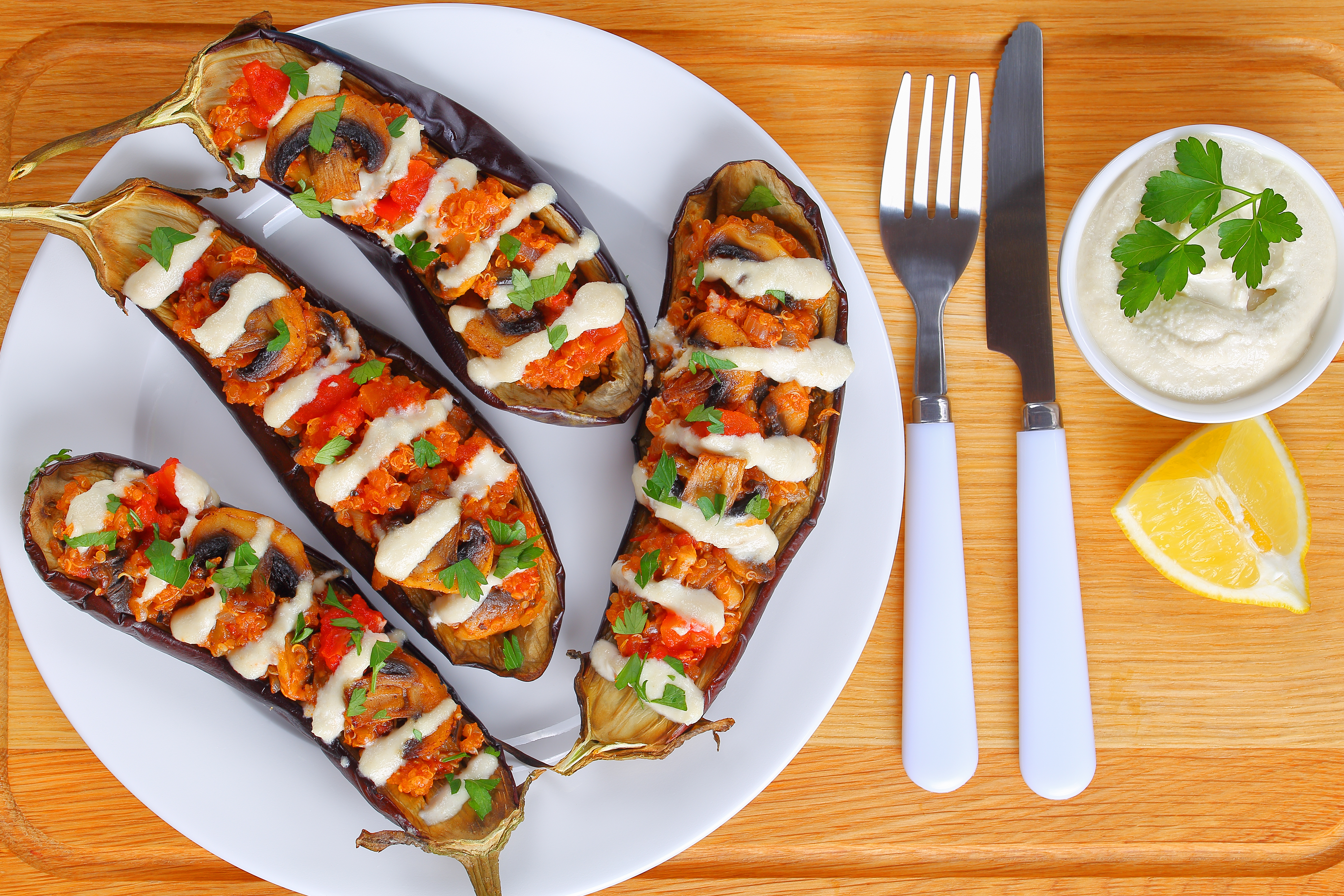 baked Eggplants Stuffed with Quinoa, top view