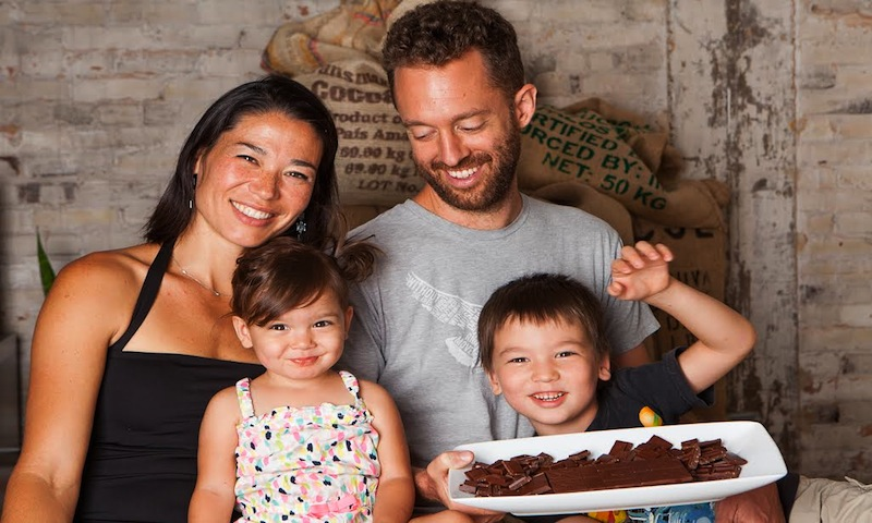 Say hello to Elaine and Matt, owners of Xocoatl Chocolate, and their kids.