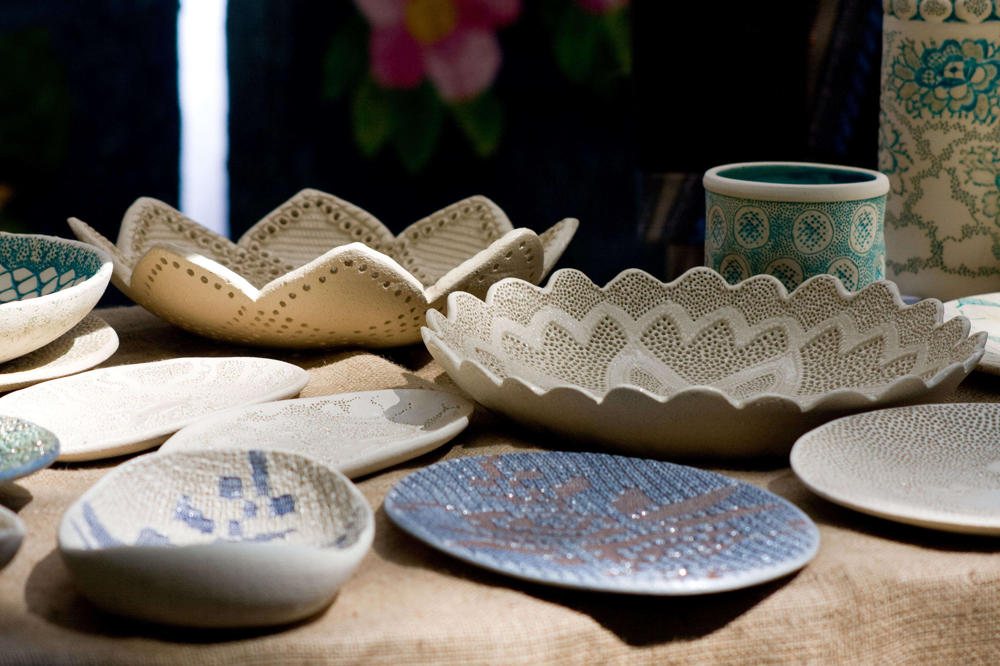 Pottery on the traditional folk-art fair in ethnographic museum