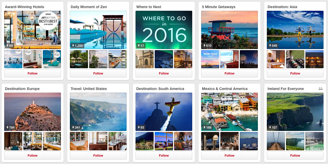 Jetsetter Pinterest Content distribution