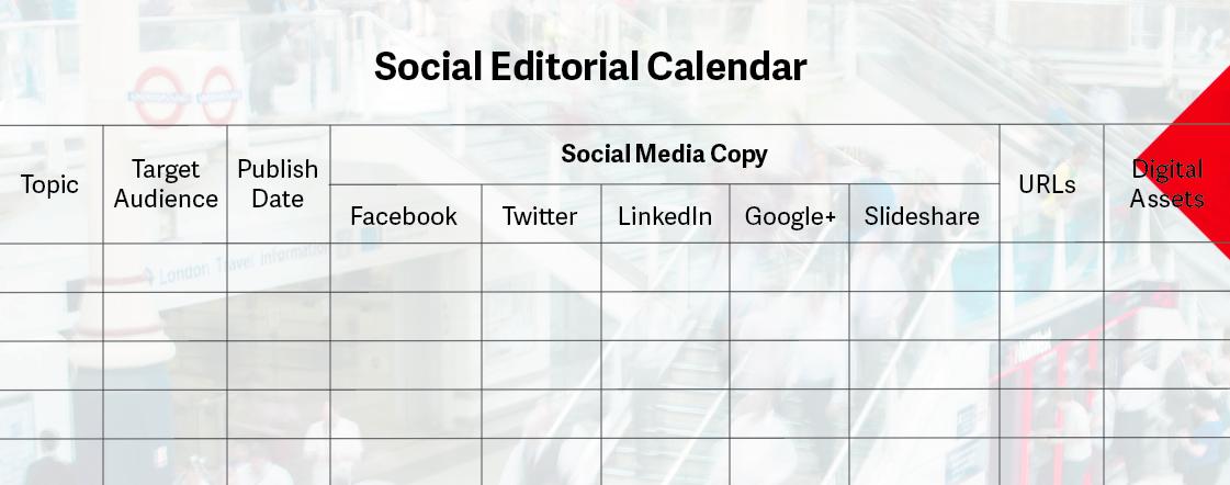 Example Social Editorial Calendar