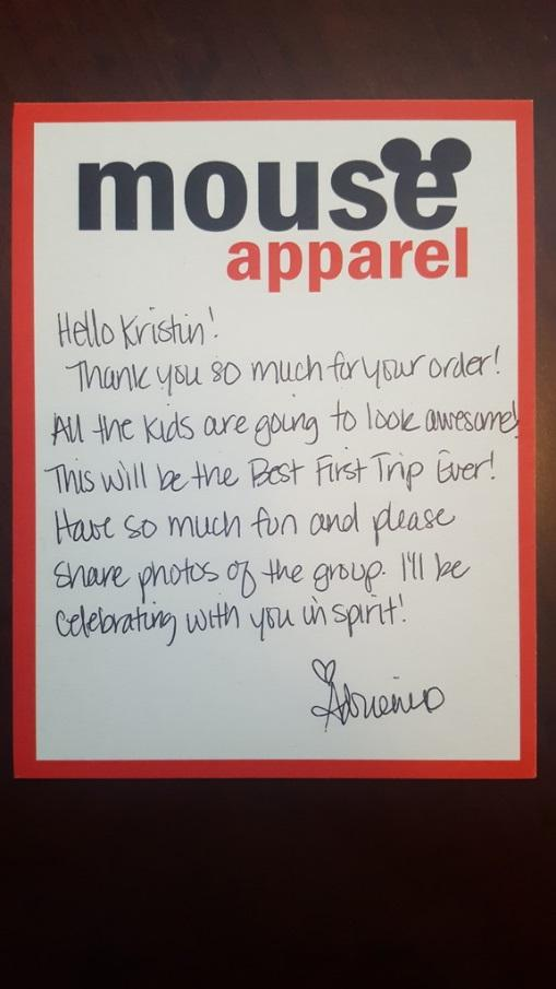 This hand-written note by Mouse Apparel thanks them for their purchase and wishes them a wonderful Disneyland trip