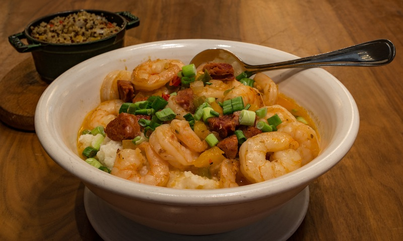 Shrimp and grits from Sway: a hearty start to your day.