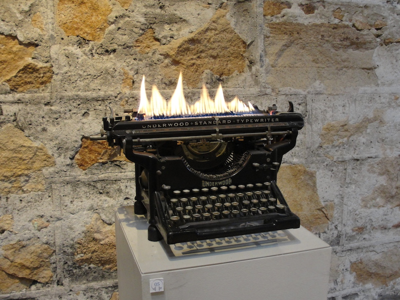 NAPA-Hess winery-flaming typewriter-by Leopoldo Maier-c2013 Carole Terwilliger Meyers.JPG