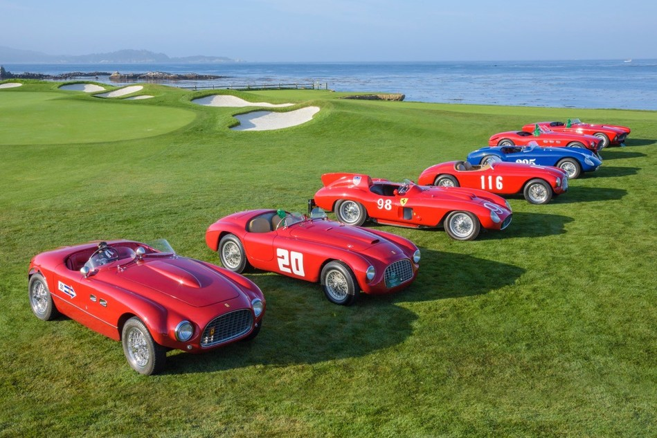 Ferrari 1950s racecars KimballStock:PebbleBeachCorncours photo.jpeg