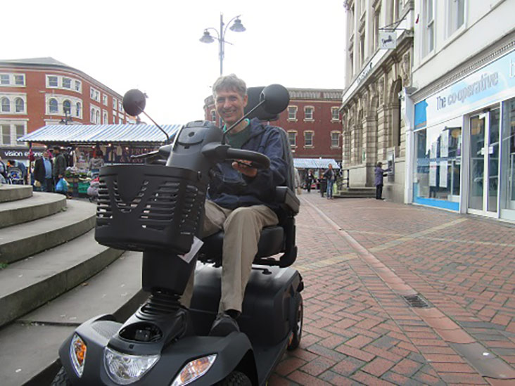 Motability Scheme customer on mobility scooter