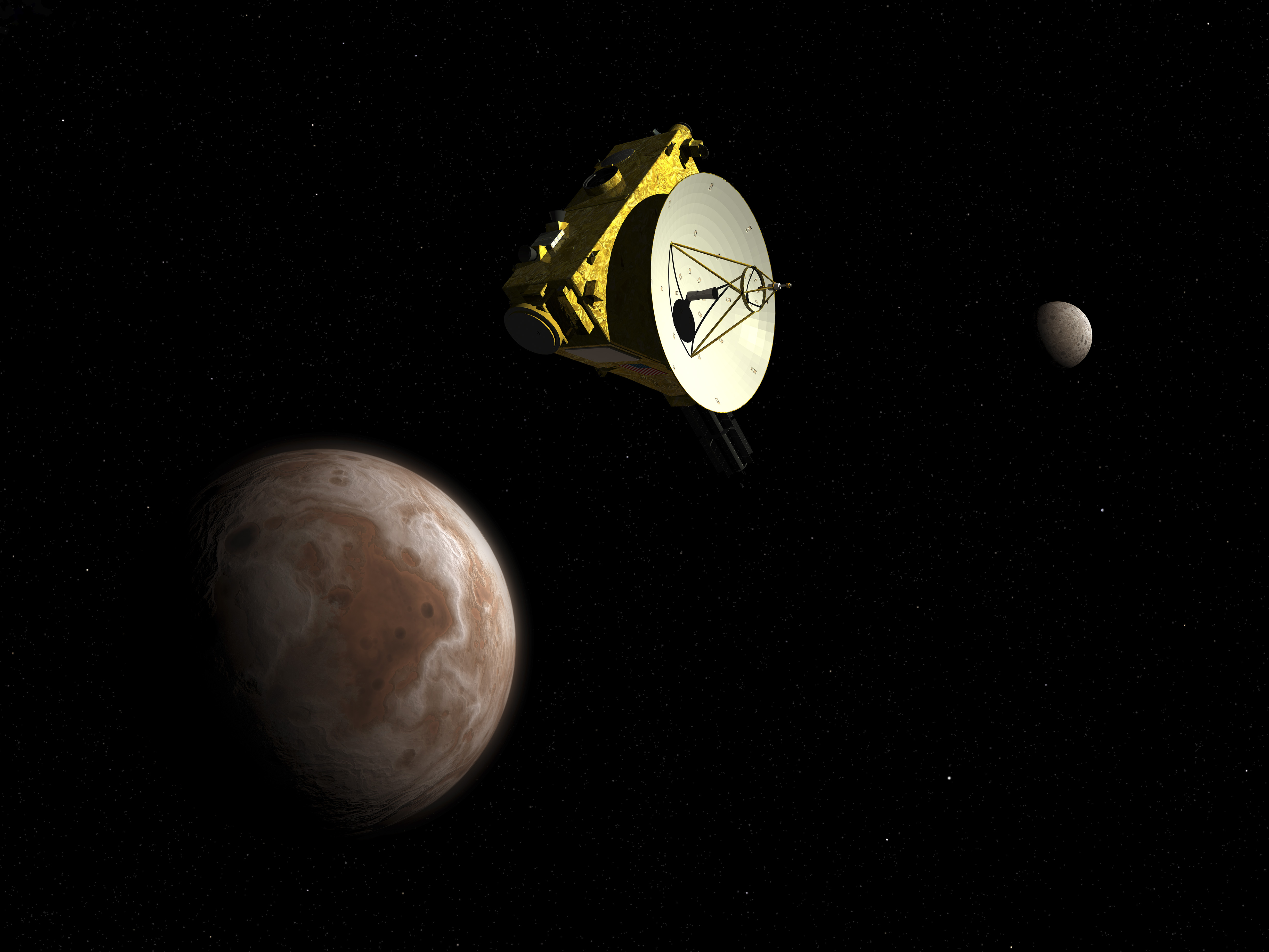 New Horizons spacecraft flies by dwarf planet Pluto and its moon Charon.
