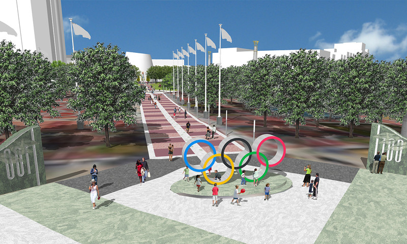 New features at Centennial Olympic Park will include the Olympic rings.