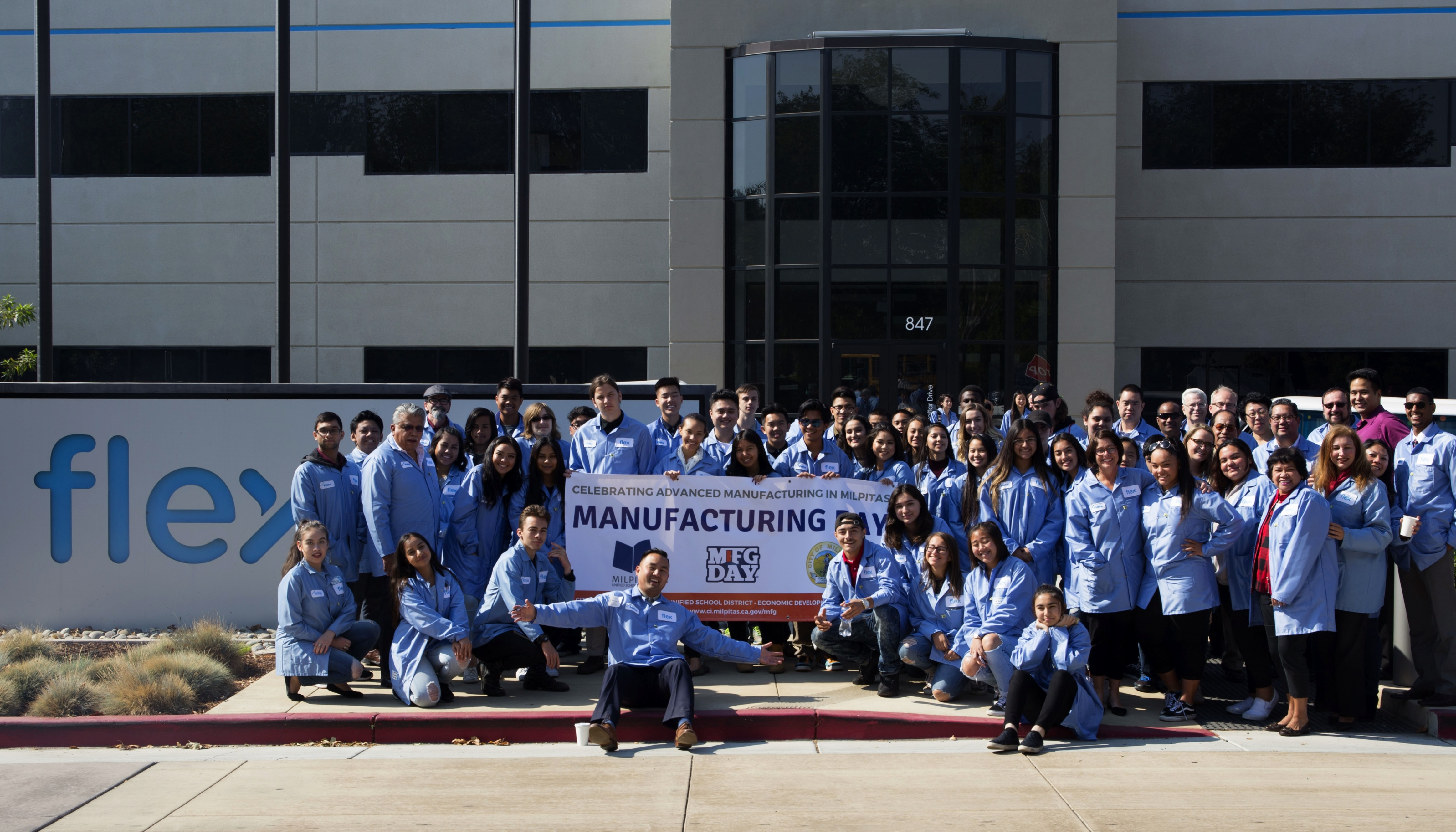 High school students of Silicon Valley celebrate Manufacturing Day at the Flex Milpitas location to learn about new tech production processes.