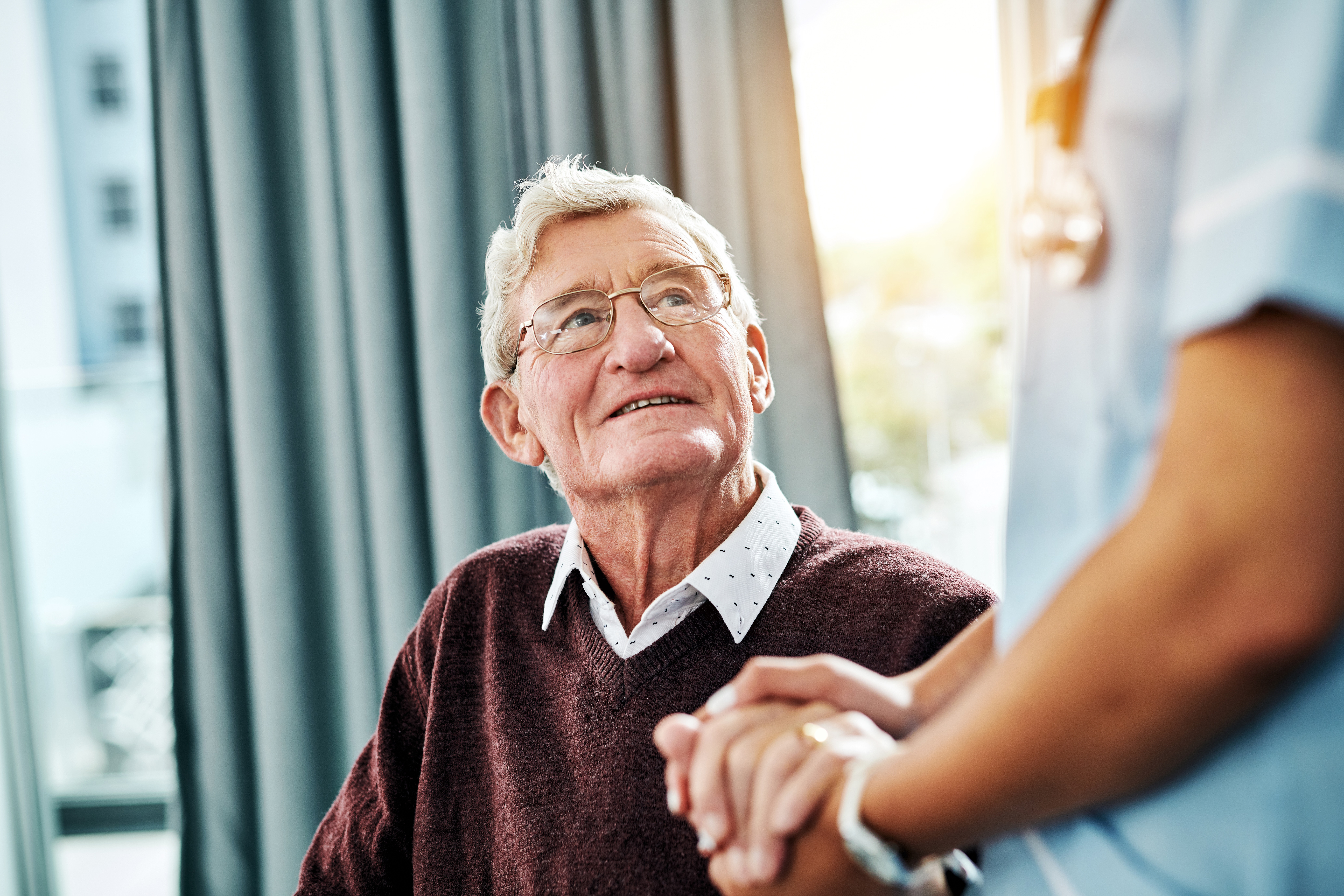 Elderly patient with a doctor