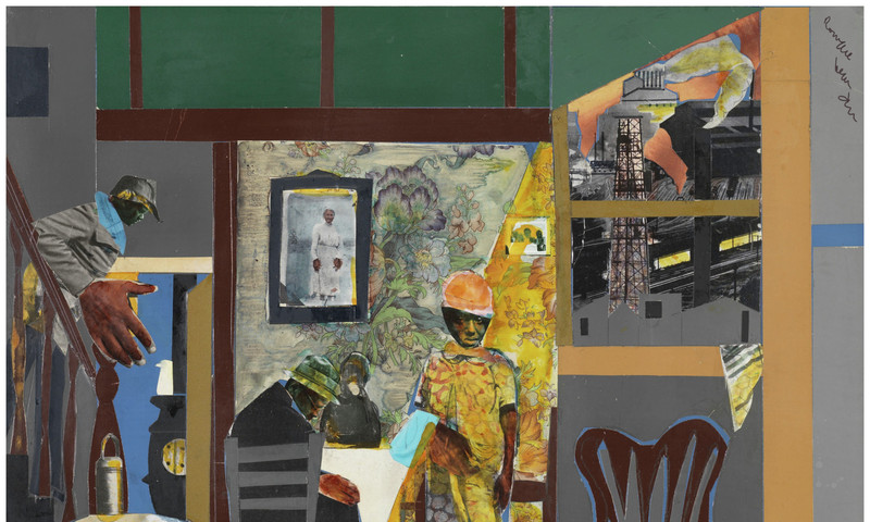 """""""Mill Hands Lunch Bucket"""" is among the Romare Bearden collages in a moving new exhibit at the High Museum of Art."""