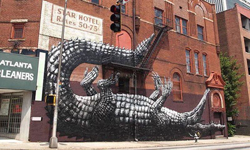 Living Walls designs peculiar murals to decorate Atlanta's buildings.