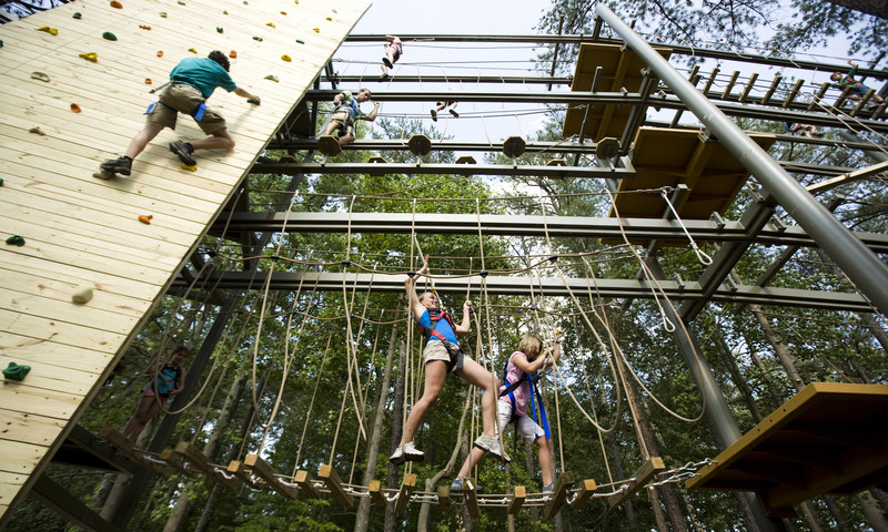 Tweens and teens test their climbing skills at Stone Mountain Park.