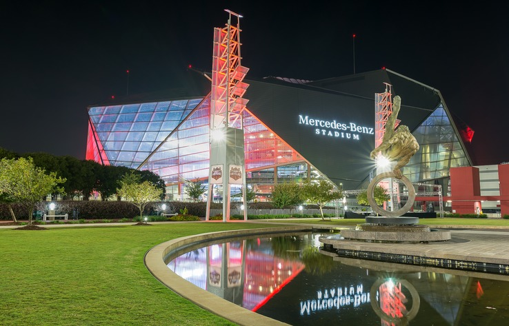 Atlanta Mercedes Benz Stadium Night - Credit Paul Daniel
