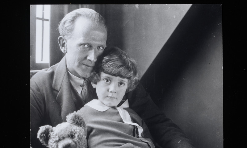 Here's A.A. Milne with Christopher and Pooh. (Howard Coster)