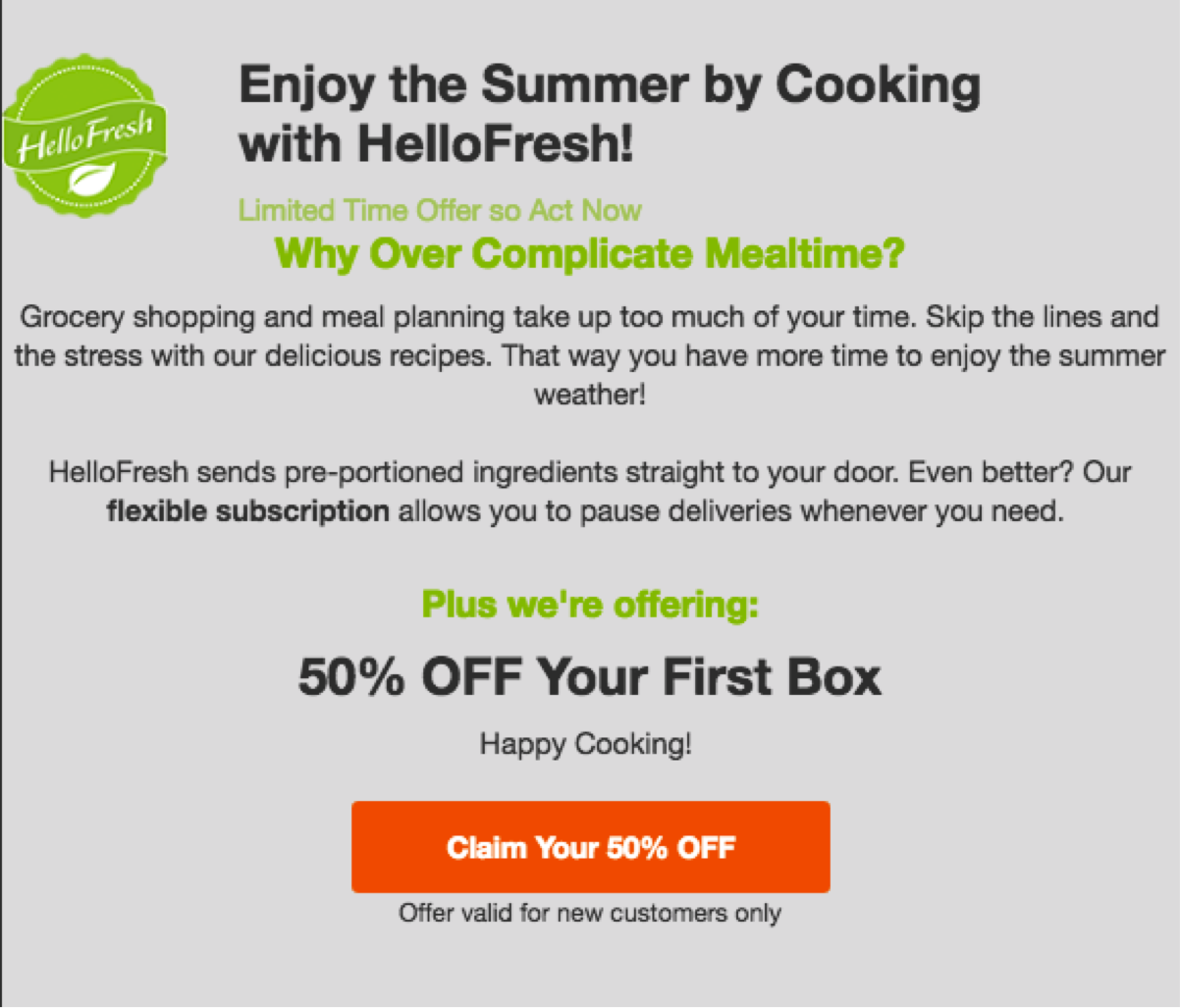 Price cut limited time offer shop now for the best selection hurry - Why It Works Rather Than Offer A Different Entry Level Product To Entice New Customers Hellofresh Simply Discounts Their Main Offering For A First Time