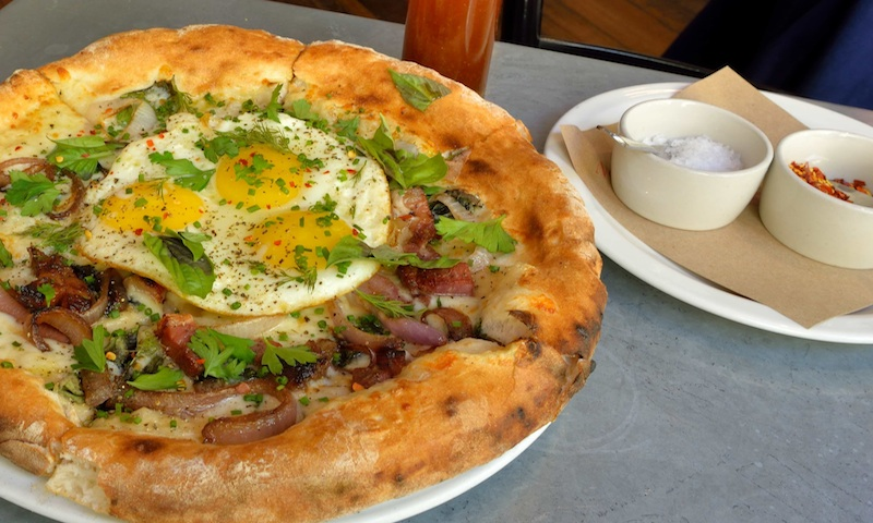 Delicious breakfast pizza at No. 246 in Decatur is, well, delicious.