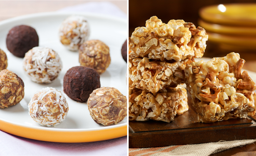No Bake Energy Balls and Salted Caramel Popcorn Bars